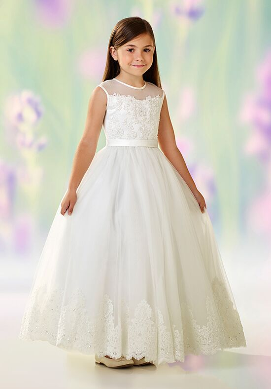 Joan Calabrese by Mon Cheri 118318 Ivory Flower Girl Dress
