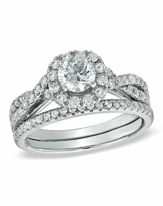Zales 1-1/6 CT. Diamond Frame Twist Bridal Set in 14K ... - photo #1