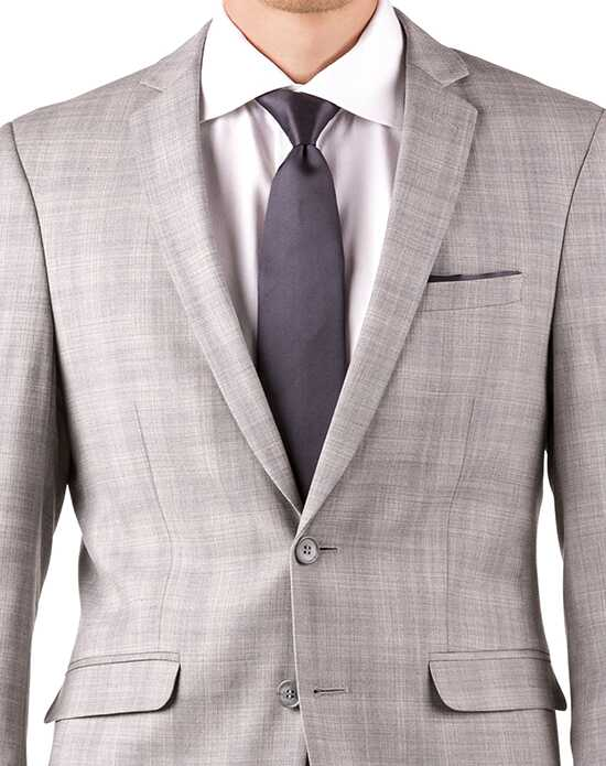 Generation Tux Light Gray Plaid Notch Lapel Suit Gray, White Tuxedo