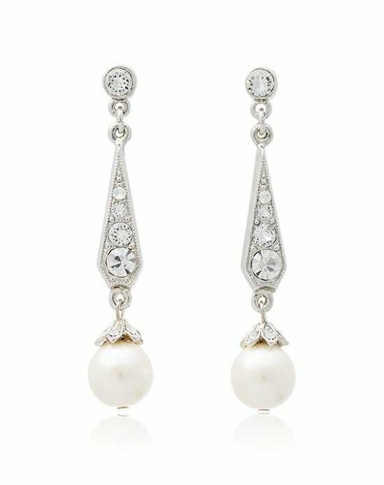 Thomas Laine Ben-Amun Bridal Pearl and Crystal Drop Earrings Wedding Earring photo