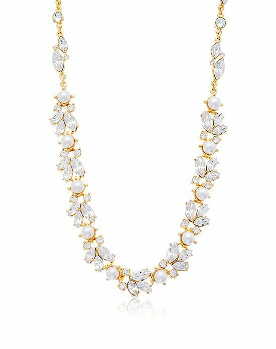 Thomas Laine Ben-Amun Gold Floral Crystal and Pearl Necklace Wedding Necklace photo