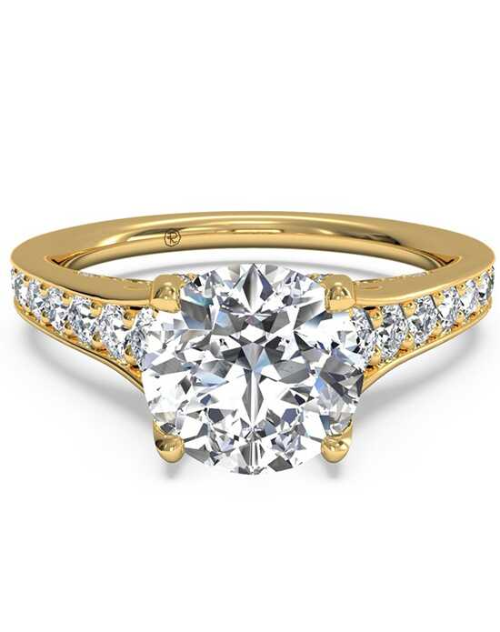 Ritani Tapered Pavé Diamond Band Engagement Ring - in 18kt Yellow Gold (0.48 CTW) for a Round Center Stone Engagement Ring photo