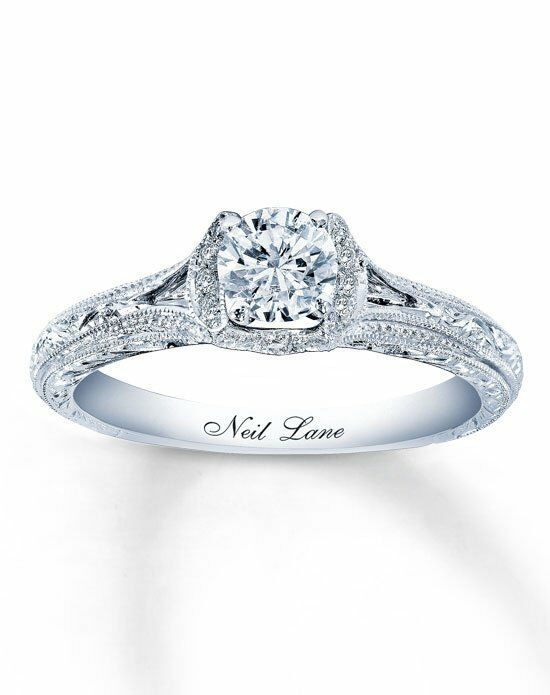 Neil Lane Diamond Engagement Ring 5/8 Ct Tw Round Cut 14K White Gold