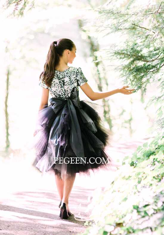 Pegeen.com 934 Black Flower Girl Dress