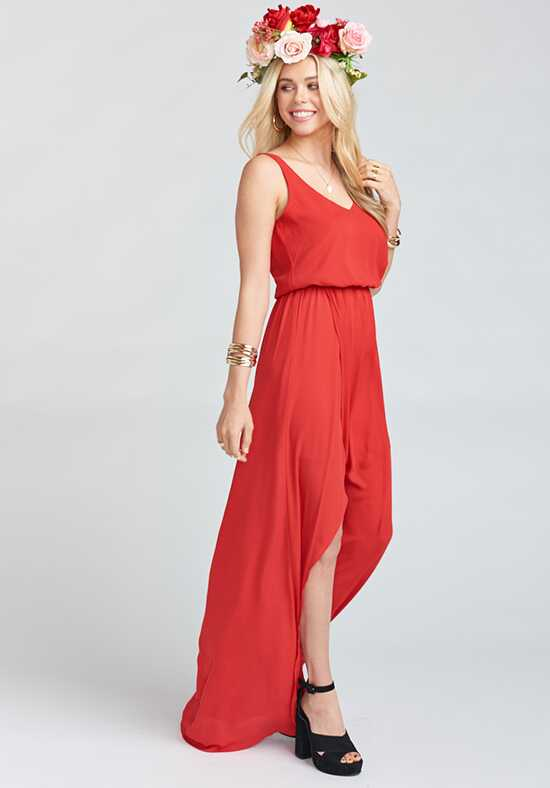 Show Me Your Mumu Kendall Maxi Dress - Lady In Red Crisp V-Neck Bridesmaid Dress