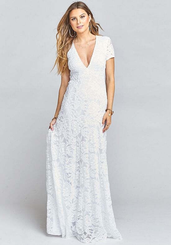 Show Me Your Mumu Elenor Maxi - Lovers Lace White V-Neck Bridesmaid Dress