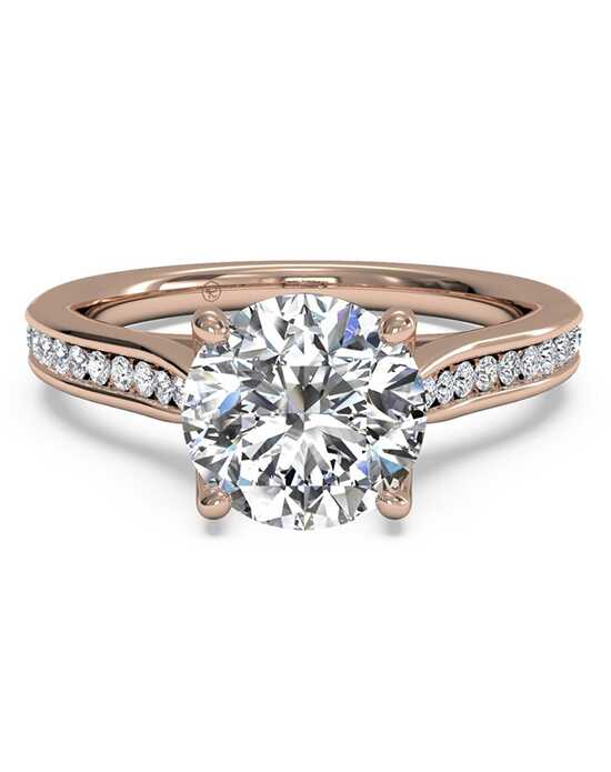 ritani channel set diamond engagement ring with surprise diamonds in 18kt rose gold - Rose Gold Wedding Rings