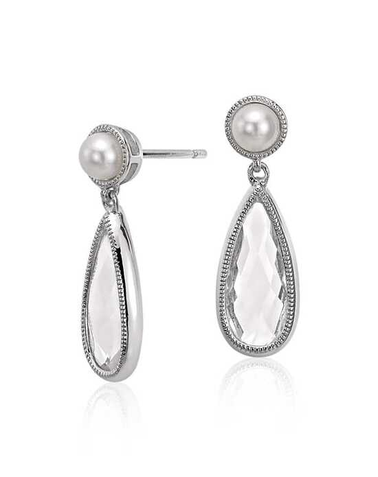 Blue Nile Freshwater Cultured Pearl and White Topaz Dangle Earrings Wedding Earring photo