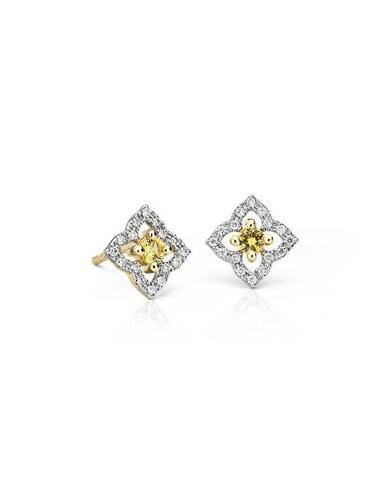 Blue Nile Petite Yellow Sapphire Floral Stud Earrings Wedding Earring photo