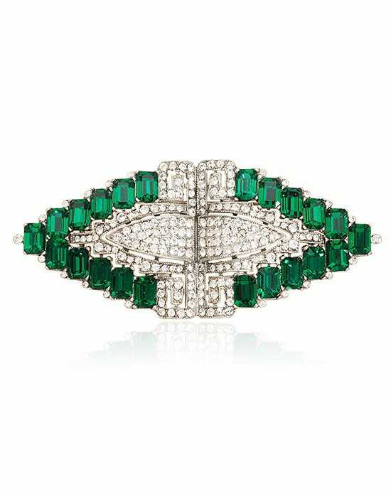 Thomas Laine Bridal Crystal and Emerald Deco Brooch Green