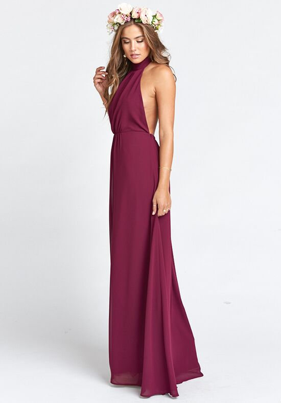 Show Me Your Mumu Collette Collar Dress - Merlot Chiffon Halter Bridesmaid Dress