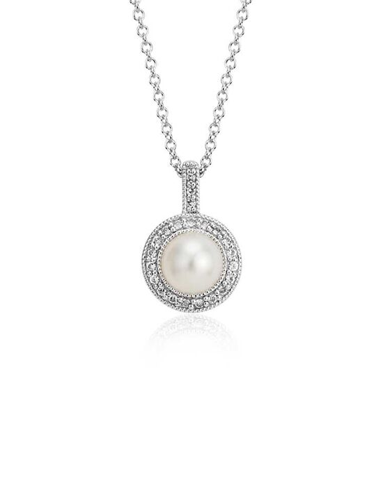 Blue Nile Freshwater Cultured Pearl and White Topaz Halo Pendant Wedding Necklace photo