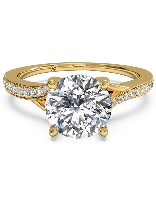 Ritani Modern Bypass Micropavé Diamond Band Engagement Ring - in 18kt Yellow Gold - (0.19 CTW) for a Round Center Stone Engagement Ring photo