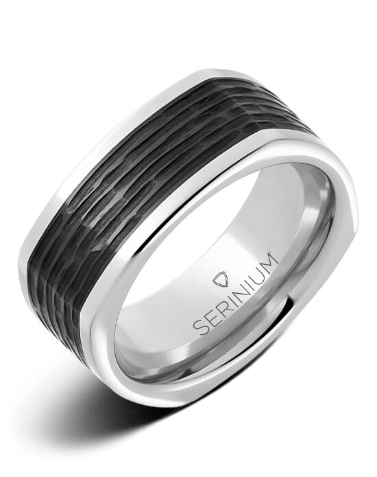 Serinium® Collection Cubist —Serinium® & Blk Ceramic Ring-RMSA003019 Serinium® Wedding Ring