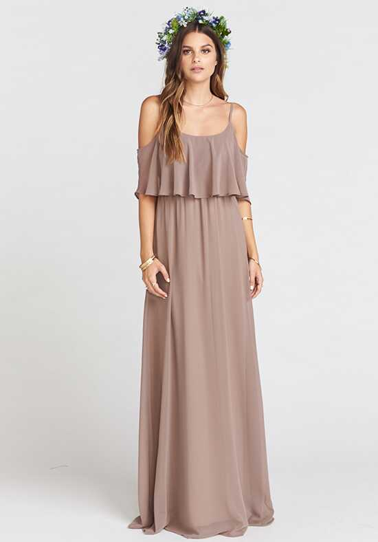 Show Me Your Mumu Caitlin Ruffle Maxi Dress - Dune Chiffon Scoop Bridesmaid Dress