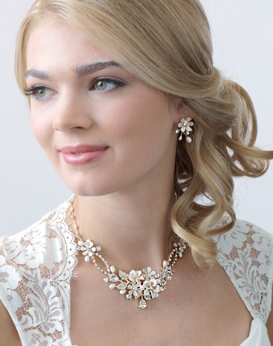 USABride Eve Floral Gold & Ivory Jewelry Set (JS-1661-G) Wedding Necklace photo