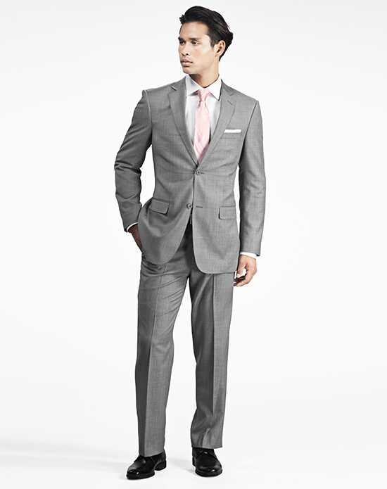 Generation Tux Gray Sharkskin Notch Lapel Suit White, Gray Tuxedo