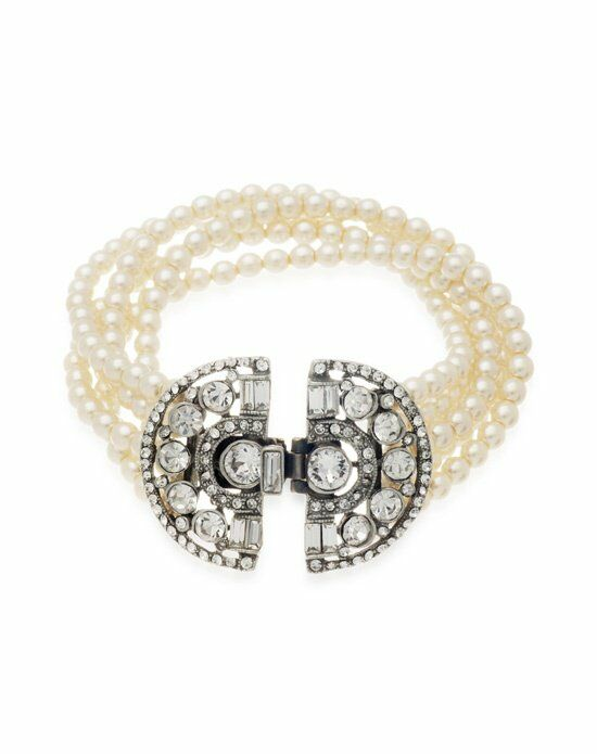 Thomas Laine Ben-Amun Deco 5 Row Pearl and Crystal Bracelet Wedding Bracelet photo