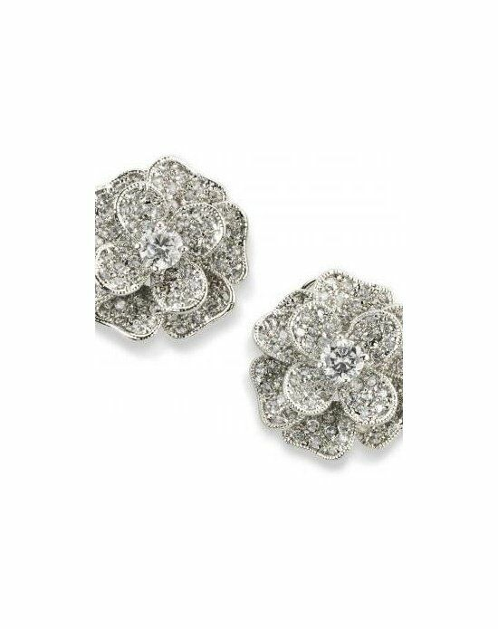 Anna Bellagio RISA CUBIC ZIRCONIA FLOWER BUTTON EARRINGS Wedding Earring photo