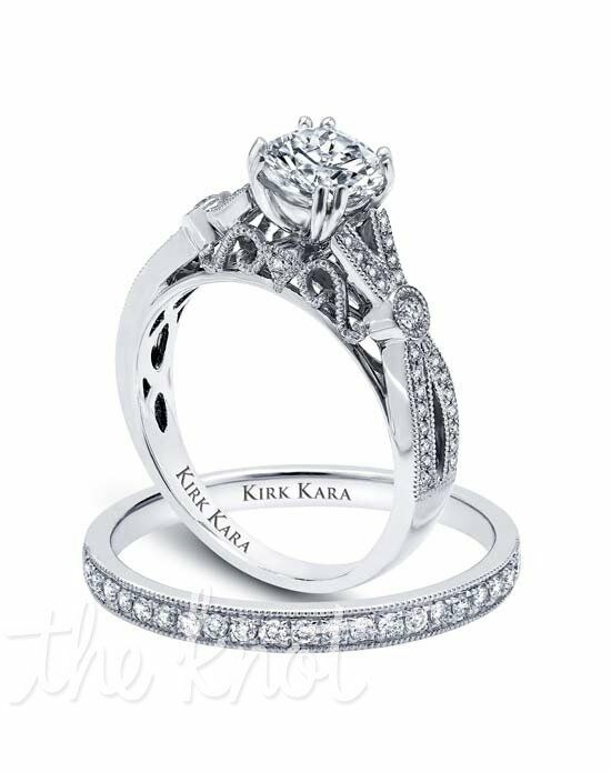 Kirk Kara Pirouetta Collection K165R & K164-B Platinum, White Gold Wedding Ring