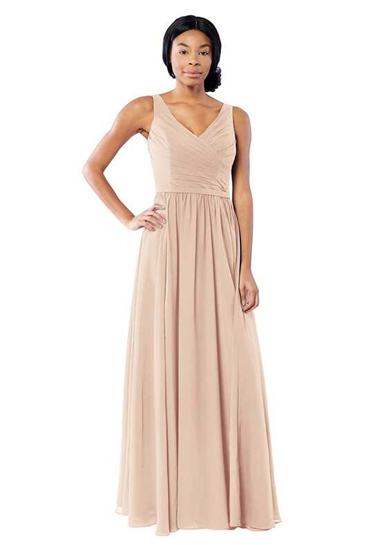 Brideside Brideside Blair in Ice Pink V-Neck Bridesmaid Dress