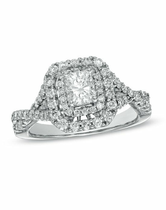 Zales 1 1 4 CT T W Certified Radiant Cut Diamond Double Frame Engagement Ri