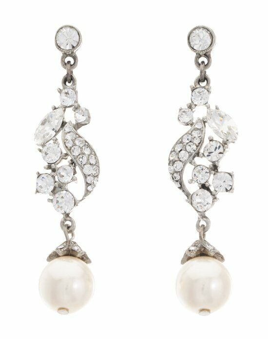 Thomas Laine Ben-Amun Bridal Crystal Pearl Drop Earrings Wedding Earring photo