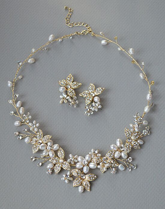 USABride Floral Garden Pearl Gold Jewelry Set JS-1670-G Wedding Necklace photo