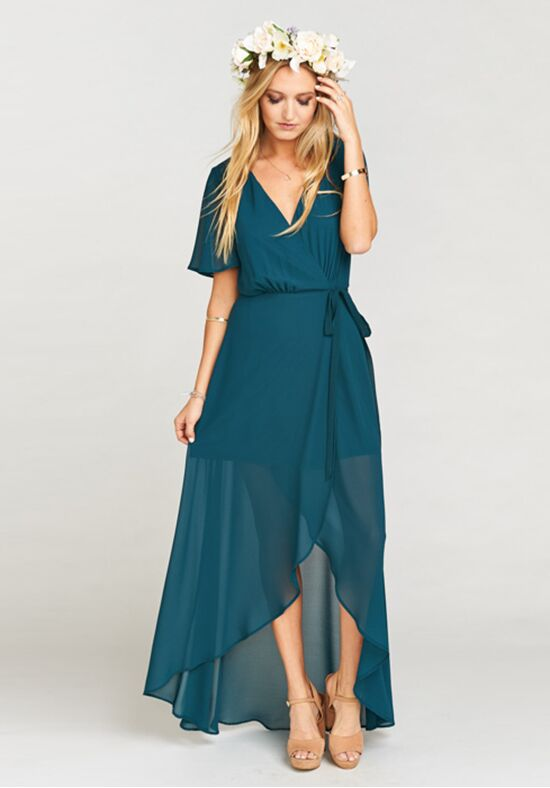Show Me Your Mumu Sophia Wrap Dress - Deep Jade Chiffon V-Neck Bridesmaid Dress