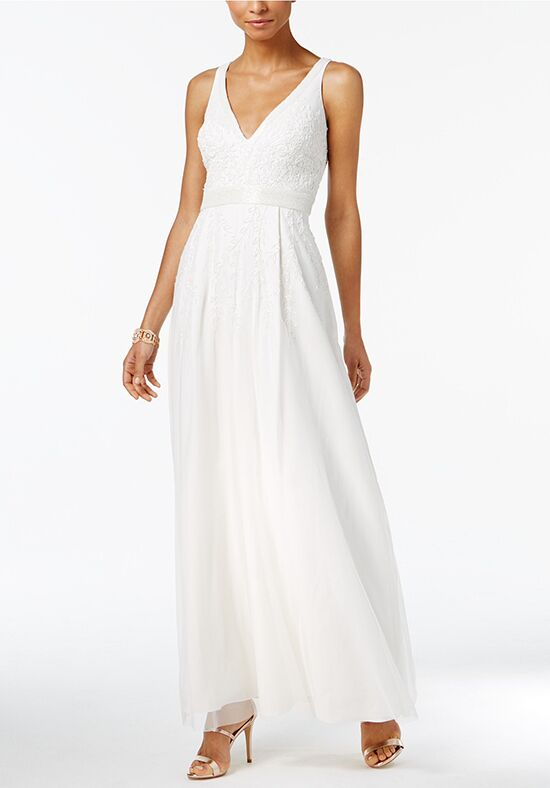 Adrianna Papell Wedding Dresses Adrianna Papell Beaded V-Neck Gown- Scoop A-Line Wedding Dress