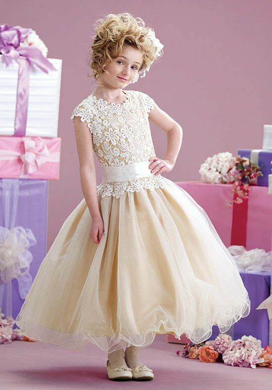 Joan Calabrese by Mon Cheri 215339 Gold Flower Girl Dress