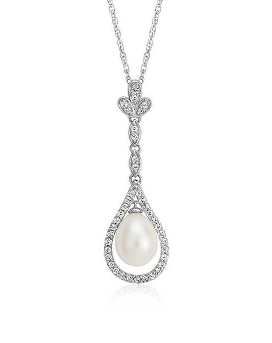 Blue Nile Freshwater Cultured Pearl and White Topaz Vintage-Inspired Pendant Wedding Necklace photo