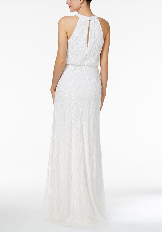 Adrianna Papell Wedding Dresses Sequined Blouson Halter Gown A Line Dress