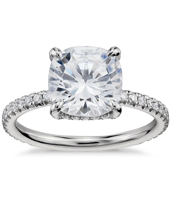 Blue Nile Studio Cushion Cut Petite French Pave Crown Diamond Engagement Ring Engagement Ring