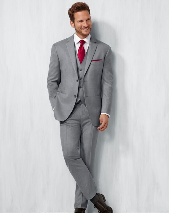 Men's Wearhouse Notch Lapel Gray Suit Gray Tuxedo