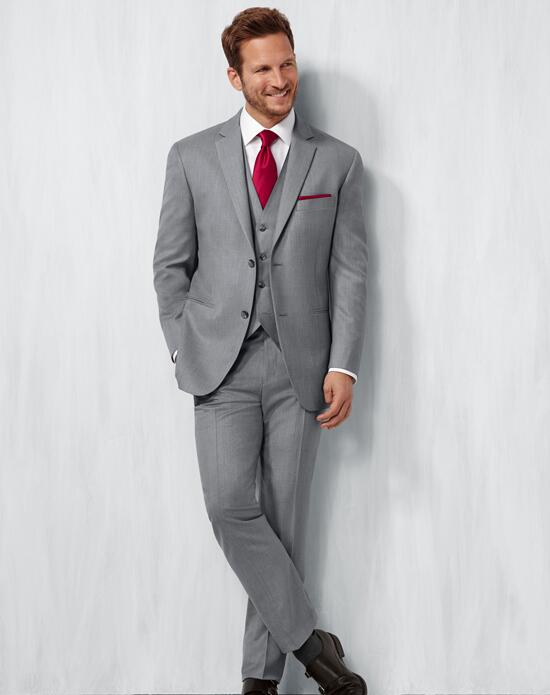 Men's Wearhouse Notch Lapel Gray Suit Wedding Tuxedos + Suit photo