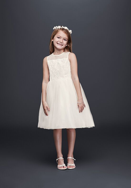 David's Bridal Flower Girl David's Bridal Style OP228 Ivory Flower Girl Dress