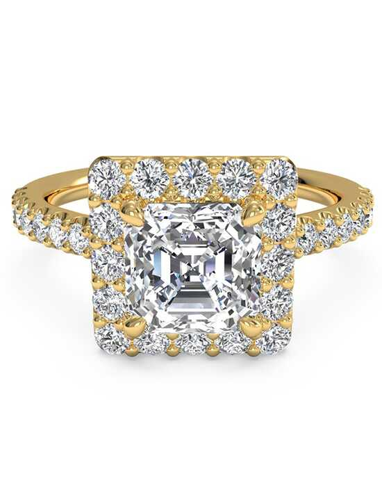 Ritani French-Set Halo Diamond Band Engagement Ring - in 18kt Yellow Gold (0.45 CTW) for a Asscher Center Stone Engagement Ring photo