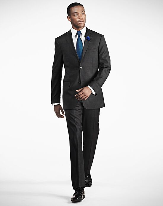 Generation Tux Notch Lapel Modern Fit Charcoal Gray Suit Wedding ...
