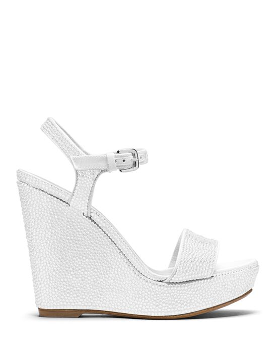 Stuart Weitzman Single Wedge Chalk White Pave Crystals White