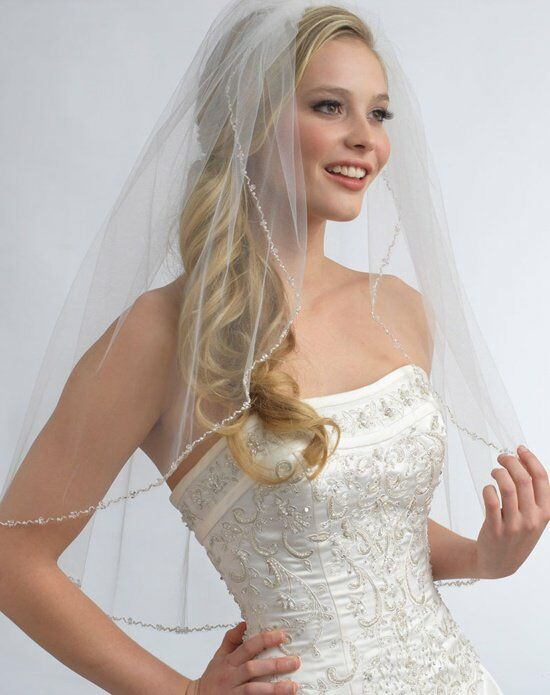 USABride 1-Layer, Emma Pearl & Crystal Beaded Veil VB-5004-1 Ivory Veil