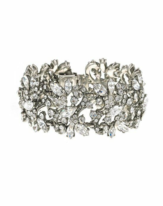 Thomas Laine Ben-Amun Bridal Wide Floral Crystal Bracelet Wedding Bracelet photo