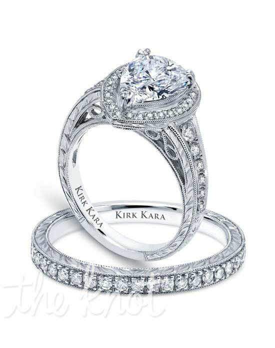 Kirk Kara Carmella Collection K15411X8P & K1170D-B Platinum, White Gold Wedding Ring