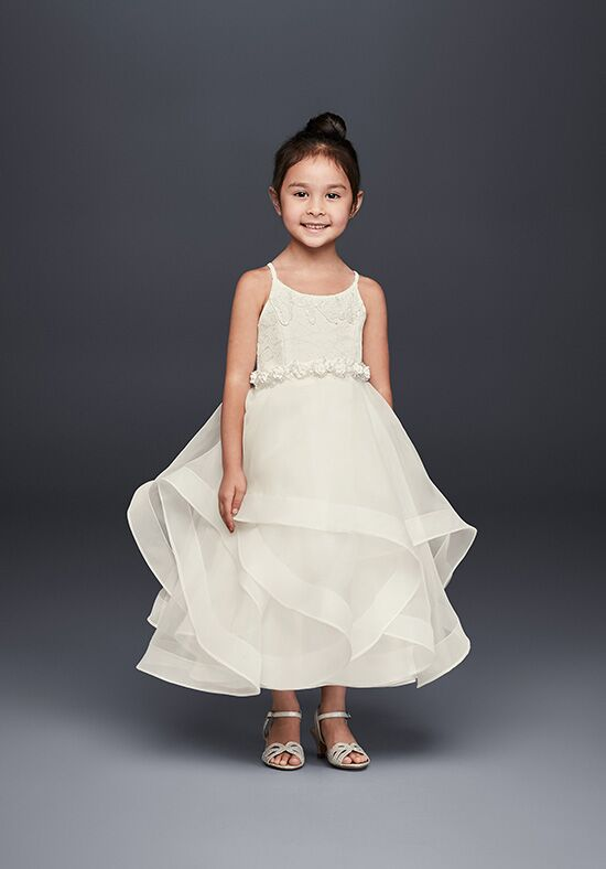 David's Bridal Flower Girl WG1371 Ivory Flower Girl Dress