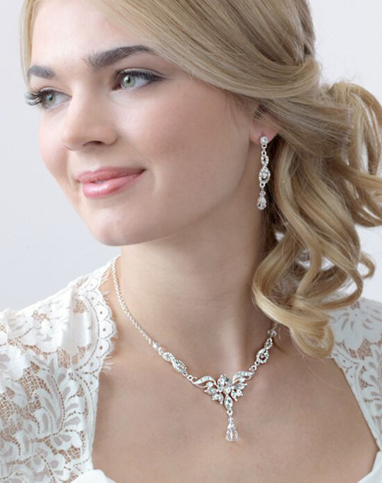 USABride Ella Rhinestone & Crystal Drop Jewelry Set (JS-1658) Wedding Necklace photo
