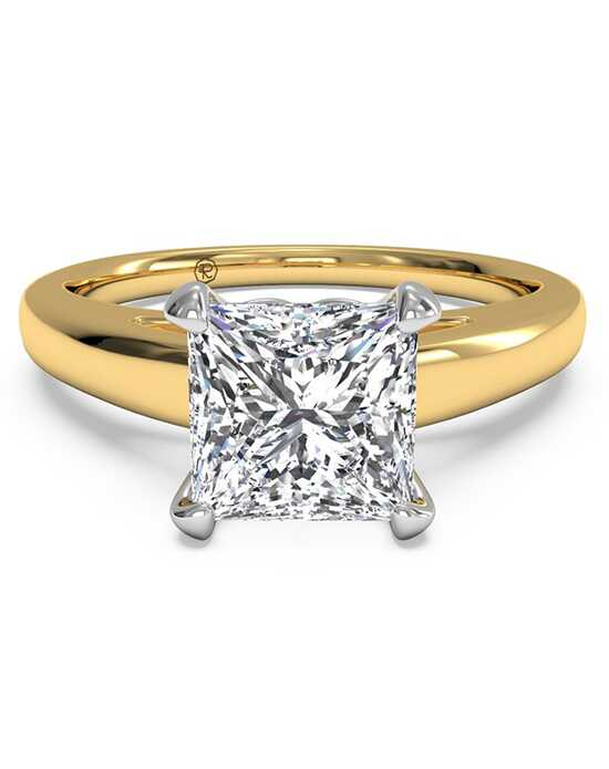 Ritani Solitaire Diamond Cathedral Engagement Ring - in 18kt Yellow Gold for a Princess Center Stone Engagement Ring photo