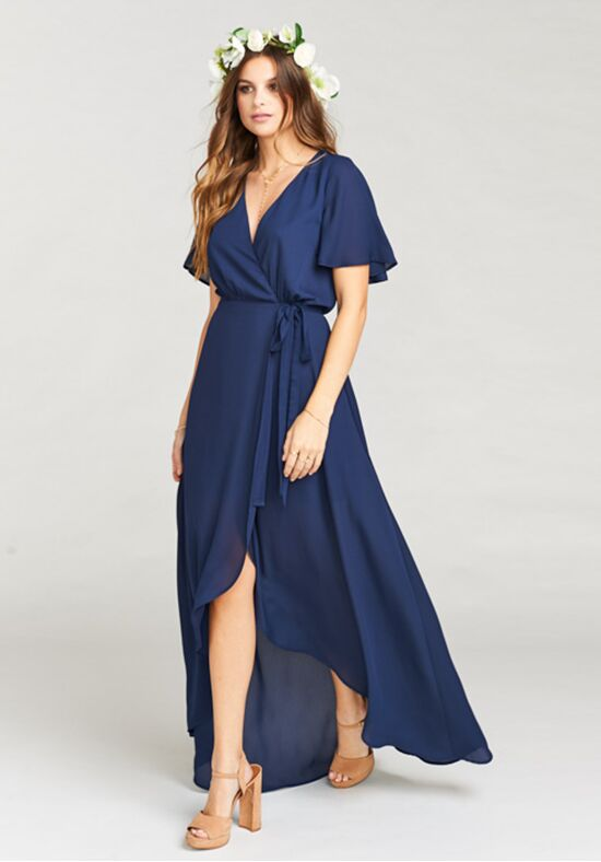Show Me Your Mumu Sophia Wrap Dress - Rich Navy Crisp V-Neck Bridesmaid Dress