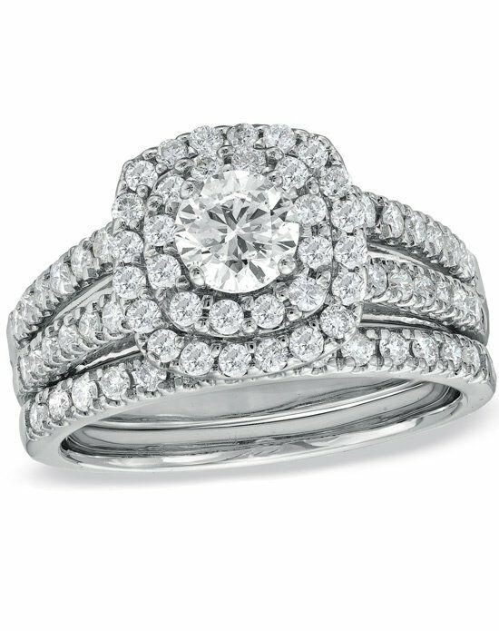 Zales 1-1/2 CT. T.W. Diamond Double Frame Bridal Set in ... - photo #24