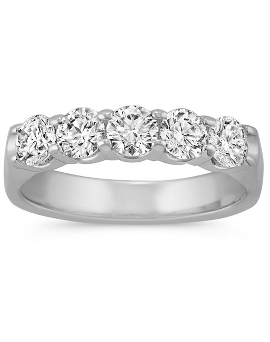 Shane Co. Round Diamond Wedding Band White Gold Wedding Ring