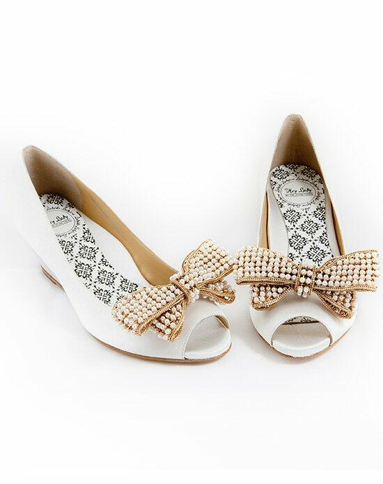 Hey Lady Shoes Peeptoe Wedgie w/big pearl bow Wedding Shoes photo